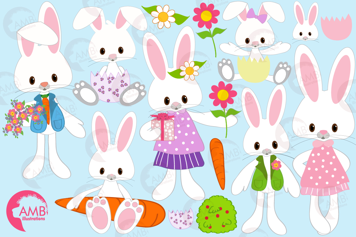 Easter Bunnies clipart, graphics, illustrations AMB-370 example image 5