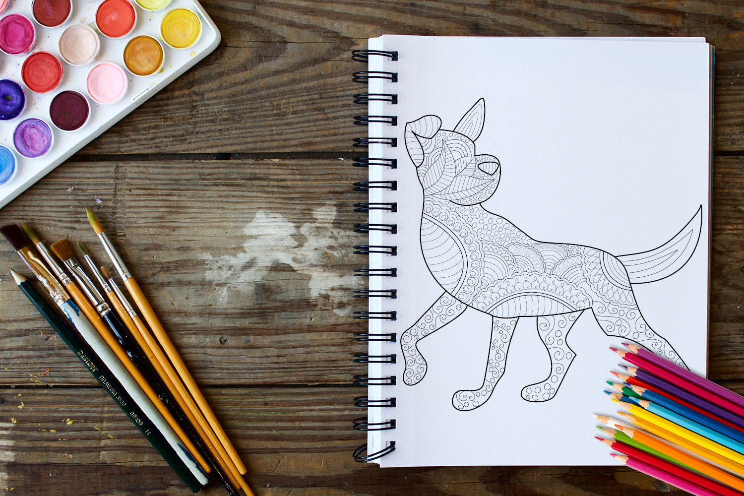 Dogs and Puppies Coloring Book - 30 Unique Coloring Pages example image 3