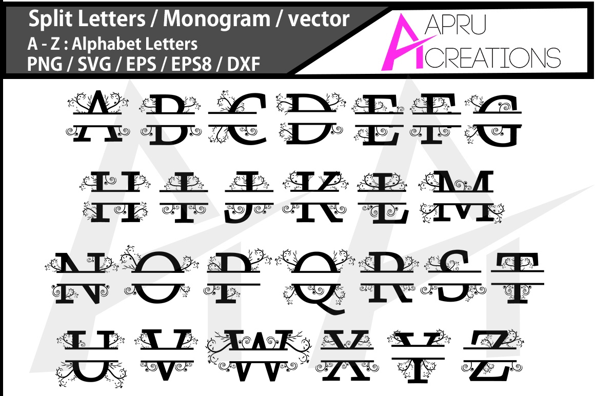Split Letters Svg / monogram vector svg / A - Z alphabet svg set ( vector ) / monogram example image 2