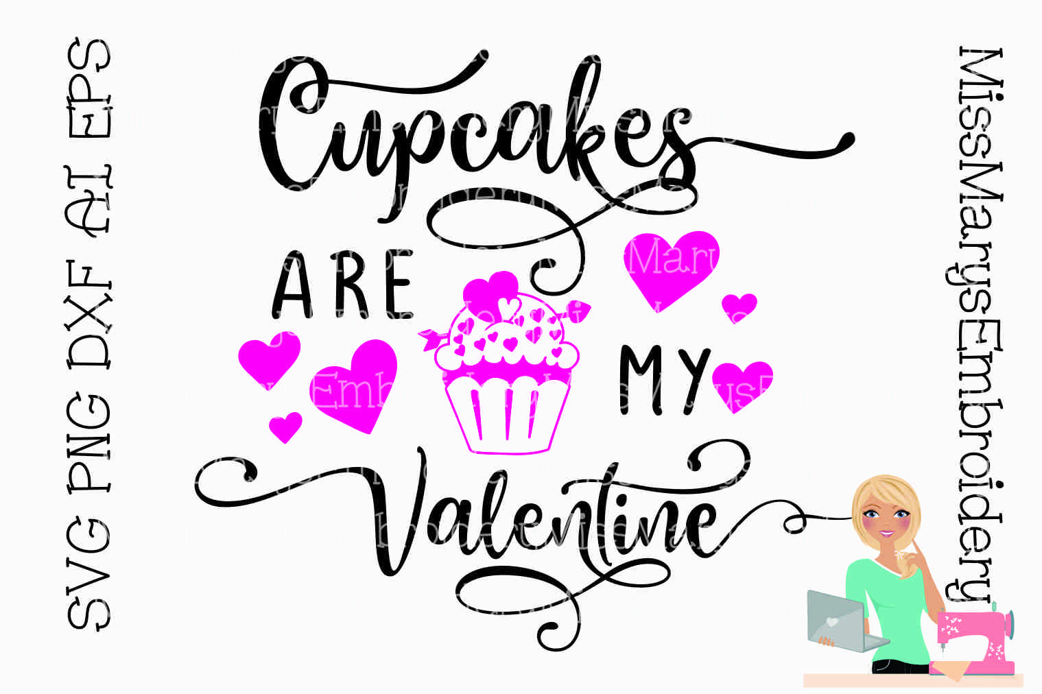 Cupcakes are my Valentine SVG Cutting File PNG DXF AI EPS example image 1