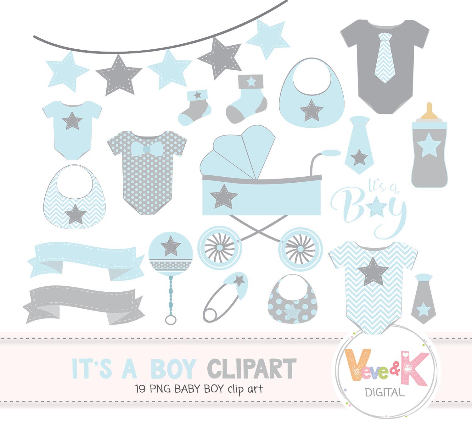 Baby Clip Art, Baby Boy Clipart, Baby Boyl Baby Shower DIY, It's a Boy, Blue and Gray Baby Shower, Baby Shower Clipart example image 2