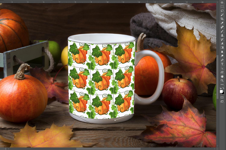 White coffee mug mockup with fall leaves, pumpkins example image 3