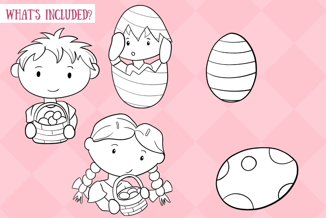 Cute Easter Egg Hunt Digital Stamps example image 2
