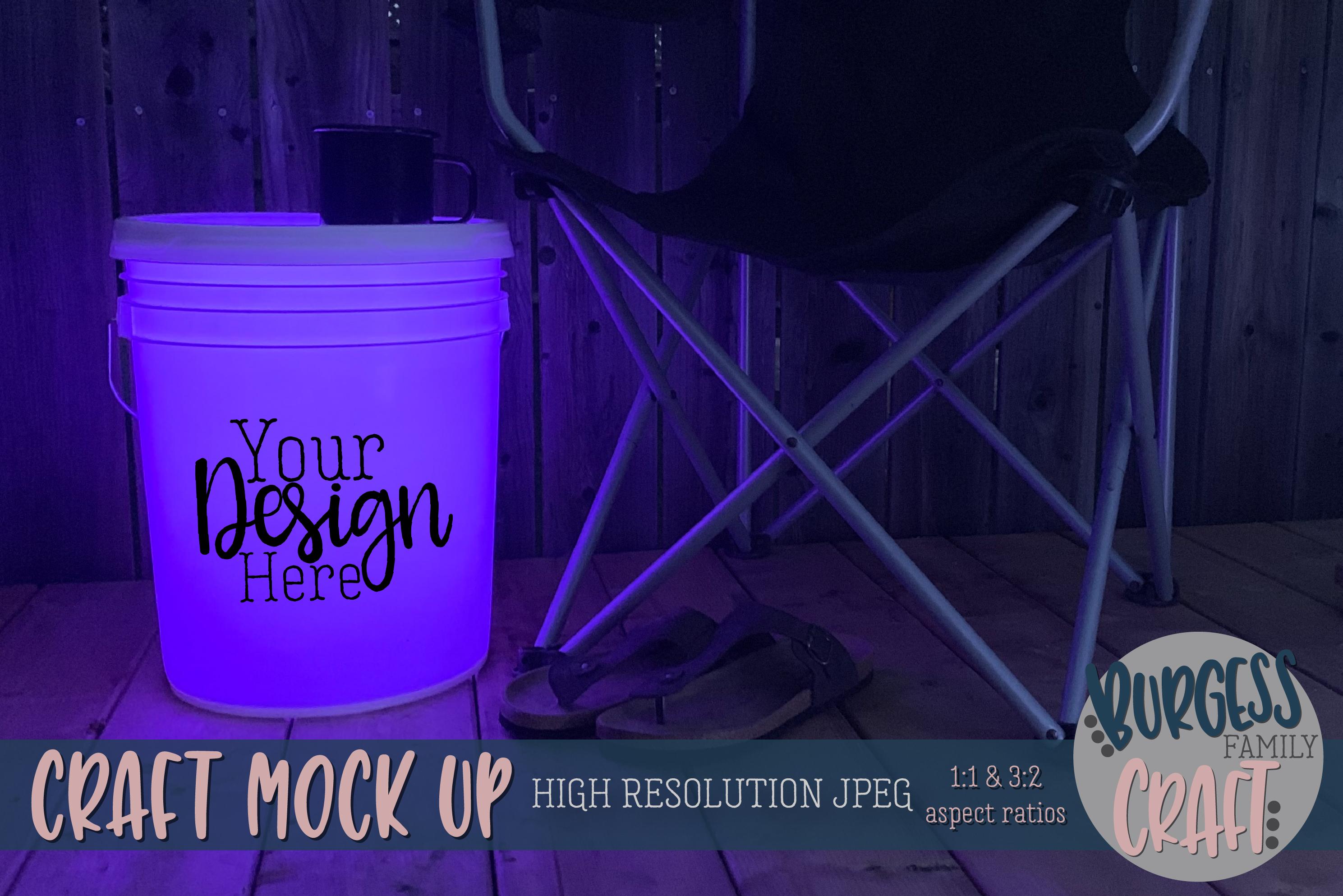 Bucket light table purple Craft mock up|High Resolution JPEG example image 1