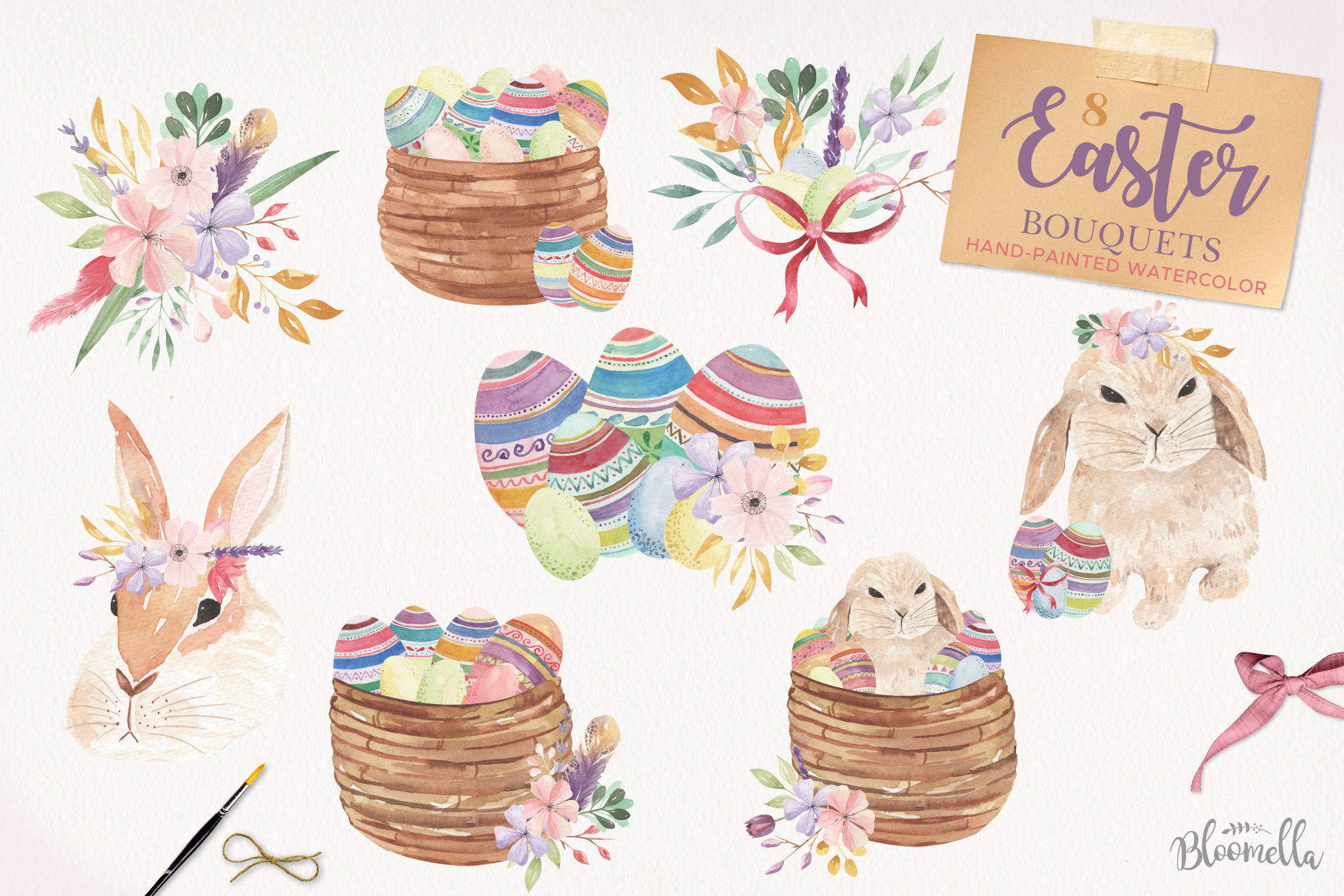 Easter Egg HUGE Bunny Watercolor Floral Spring Clipart Kit example image 5