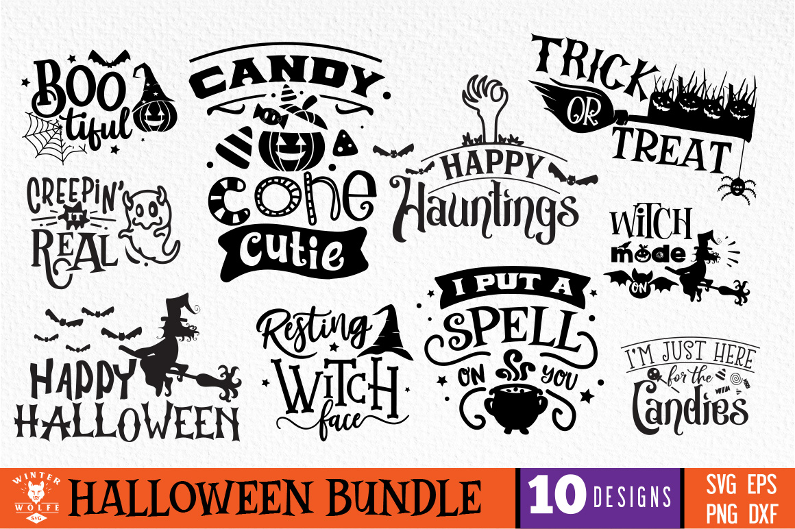 Halloween Bundle 10 designs SVG EPS DXF PNG example image 1