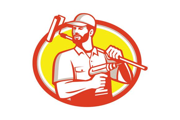 Handyman Cordless Drill Paintroller Oval Retro example image 1