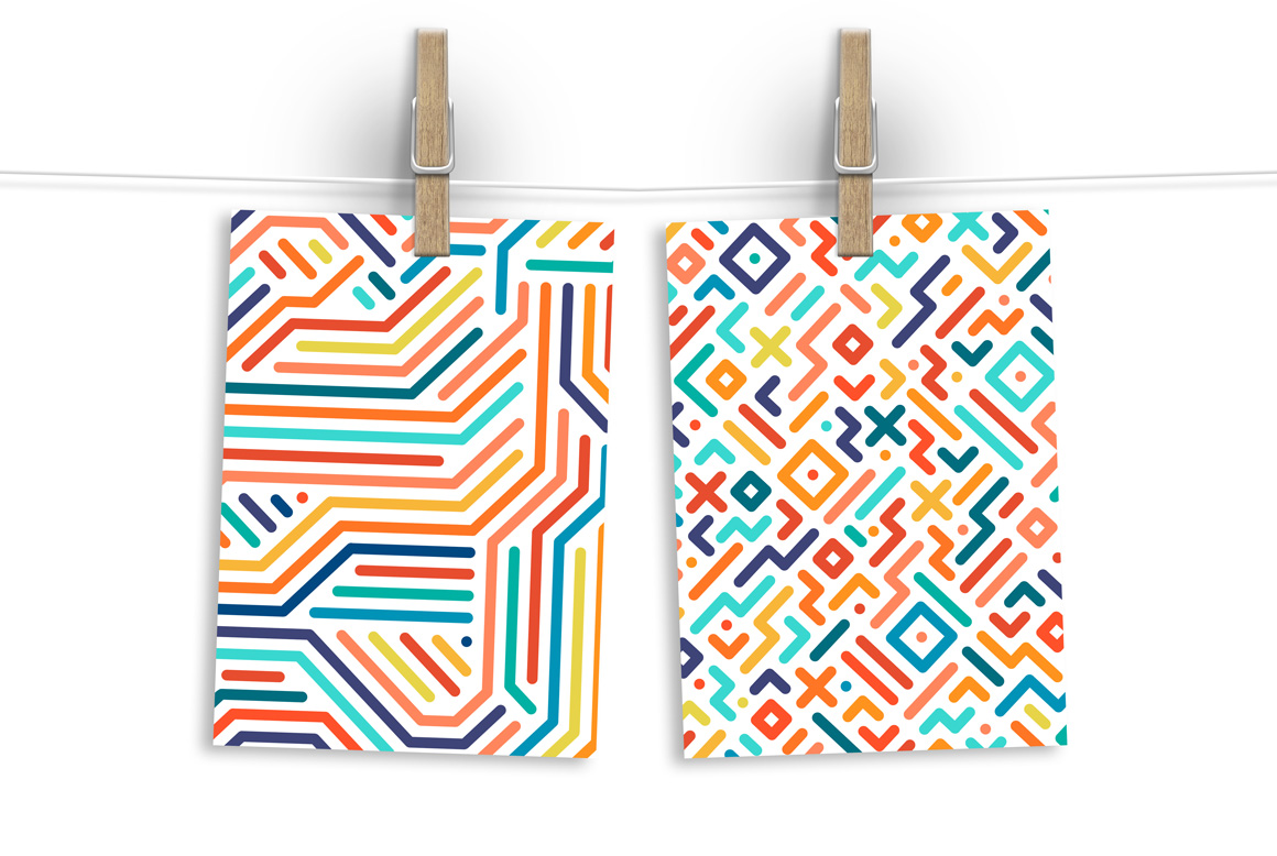 Colorful geometric striped patterns. example image 2