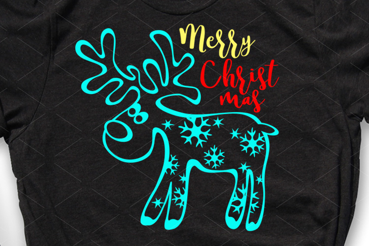 Christmas sign Reindeer face Snowflakes Holiday shirt design example image 1