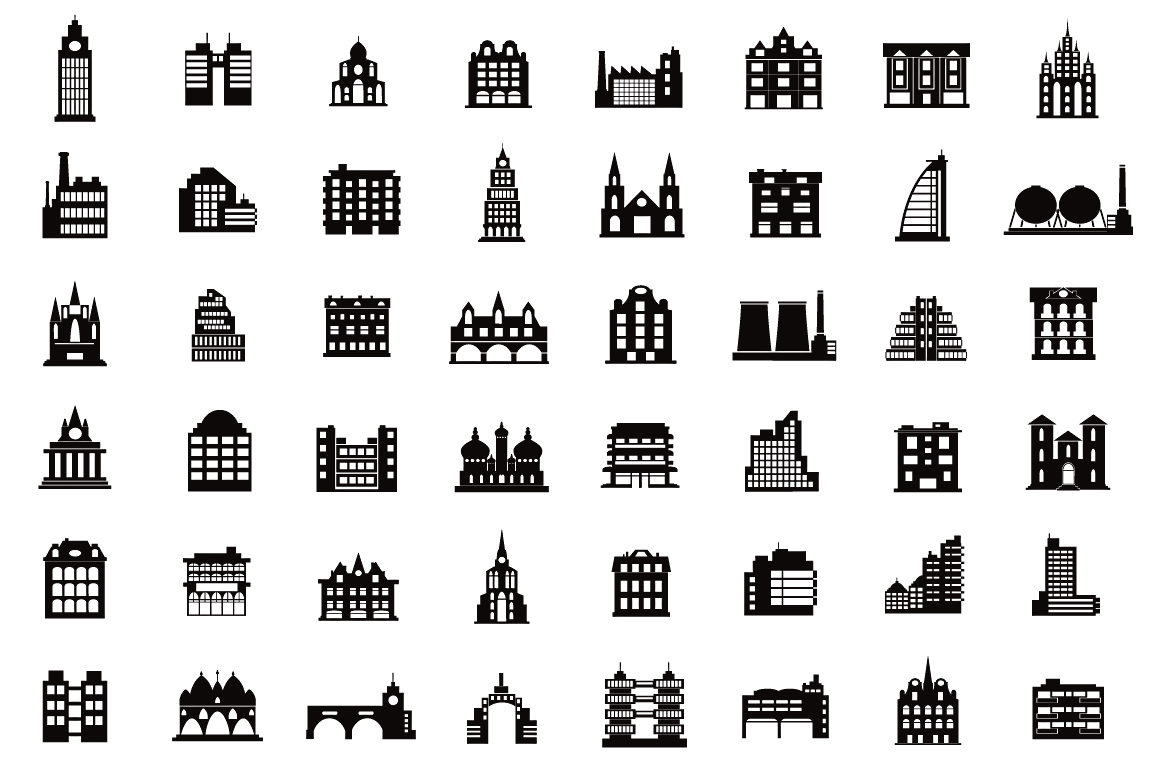 Set of vector buildings example image 3