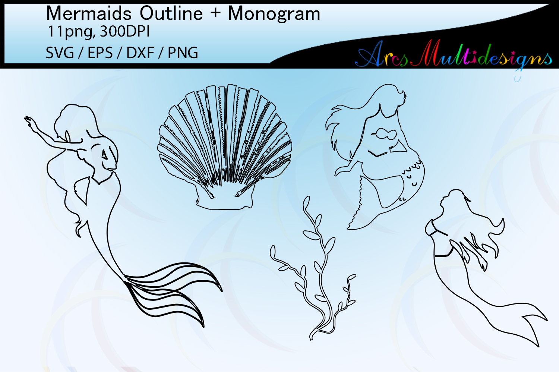 Mermaid silhouette outline / mermaid monogram vector example image 3