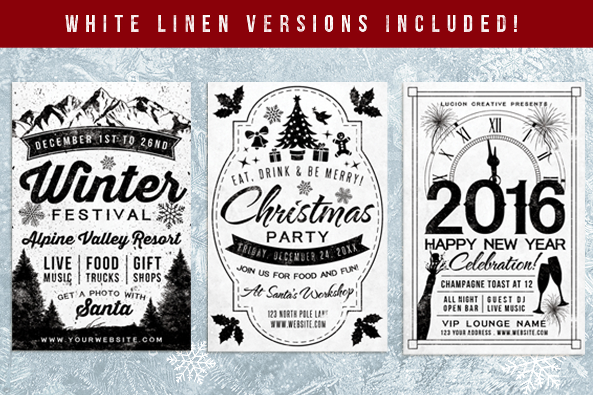 Chalk Christmas Flyer Invite Bundle example image 2
