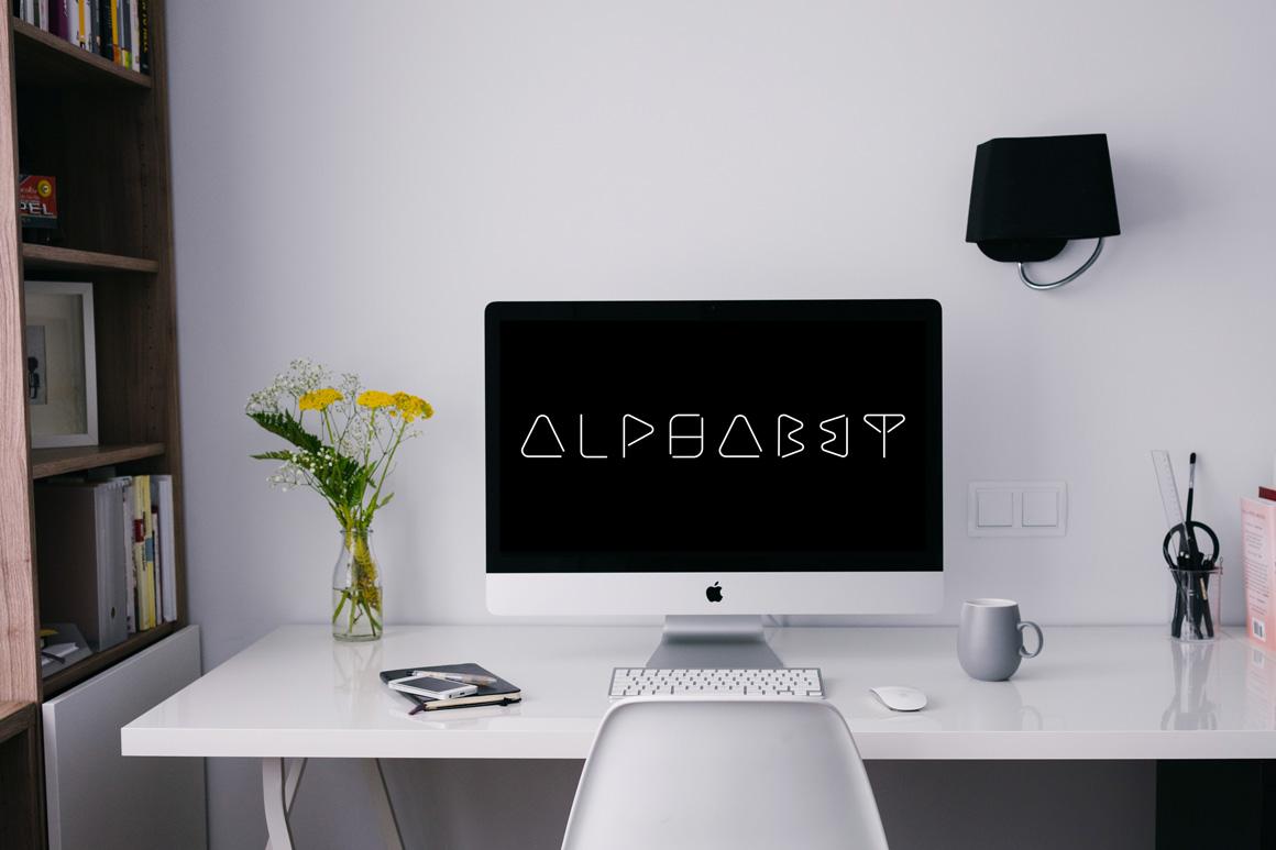 Creative minimalistic font. B&W example image 4