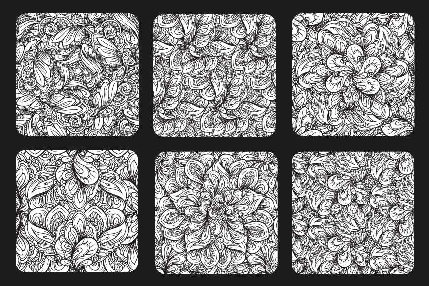 Black and white fancy doodles patterns set example image 3
