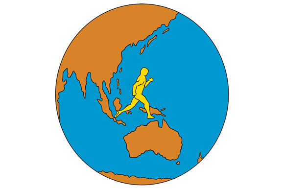 Marathon Runner Running Around World Asia Pacific Drawing example image 1