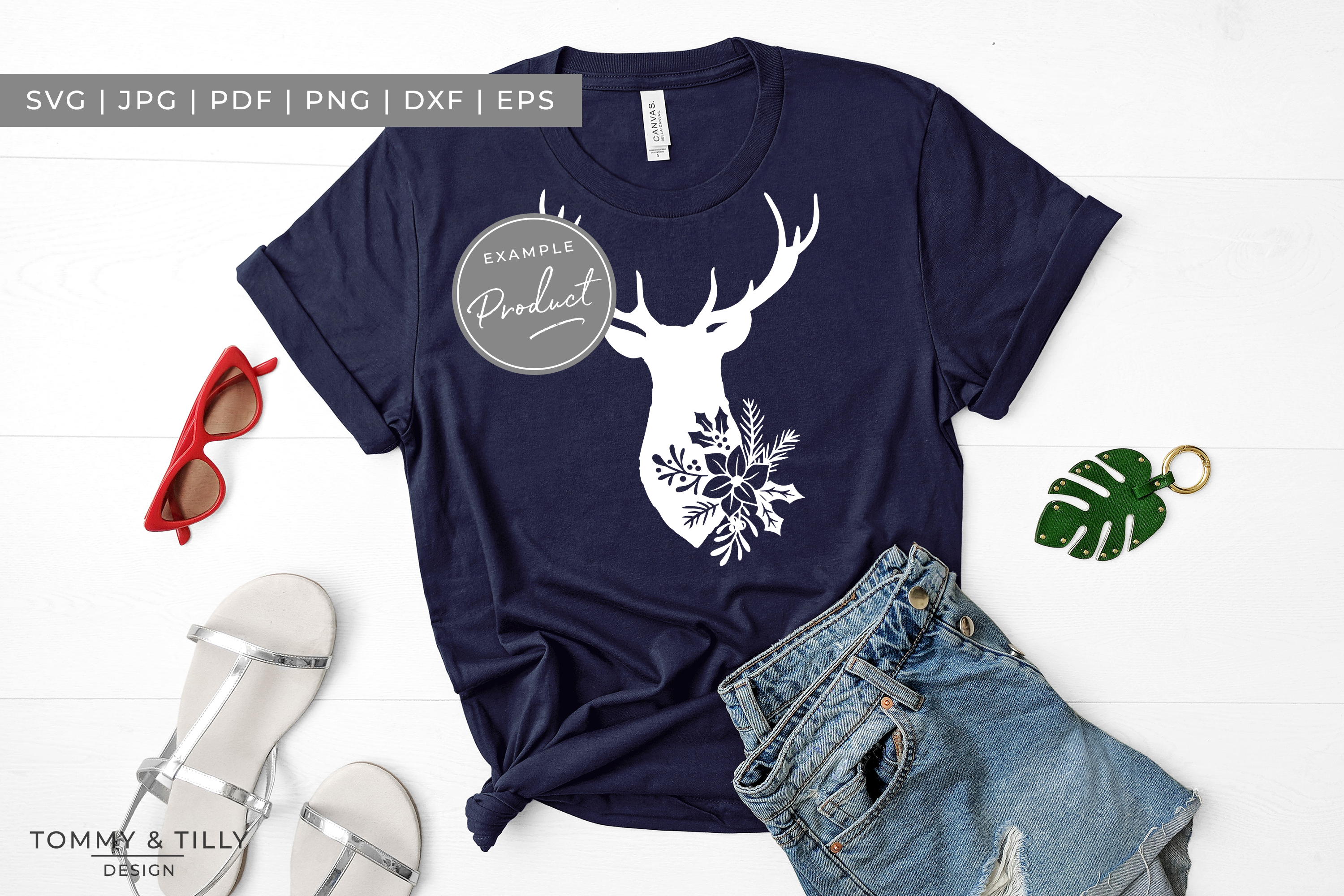 Stag Head No.1 - SVG EPS DXF PNG PDF JPG Cut File example image 3