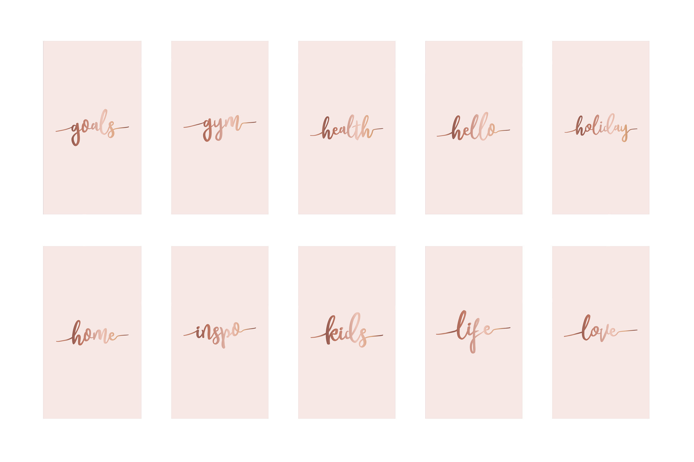 Instagram highlight covers - Rose gold script on pink example image 4
