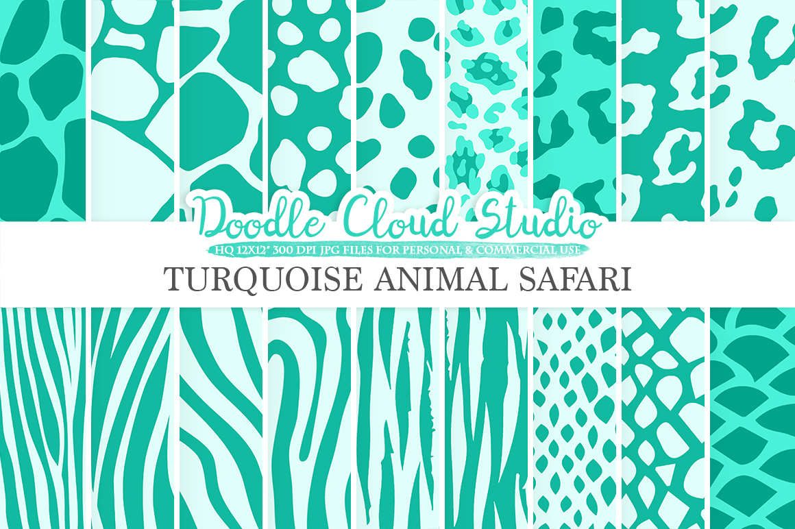 Aqua Animal Safari digital paper, Turquoise Fur pattern, Giraffe Zebra Snake Tiger backgrounds, Instant Download, Personal & Commercial Use example image 1