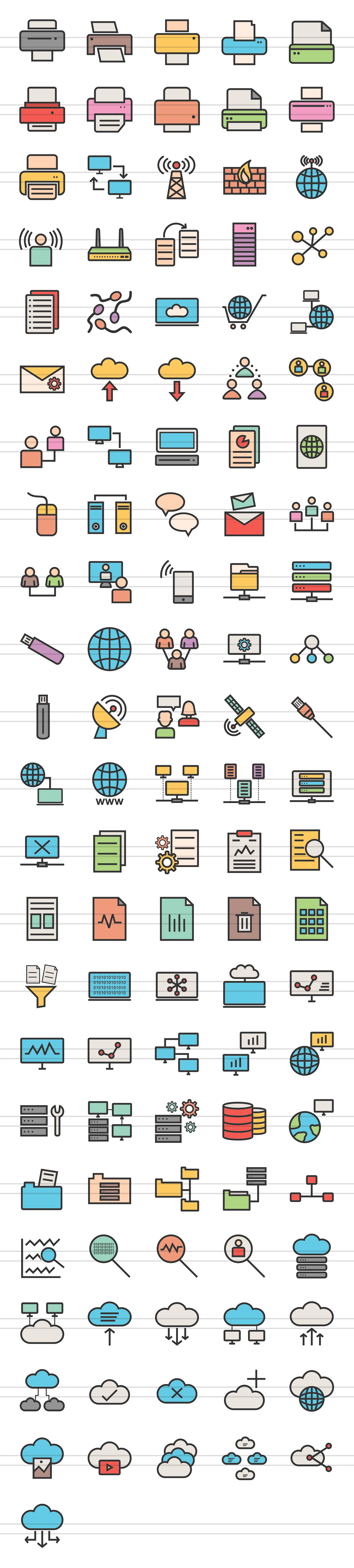 111 Networking & Printers Filled Line Icons example image 2
