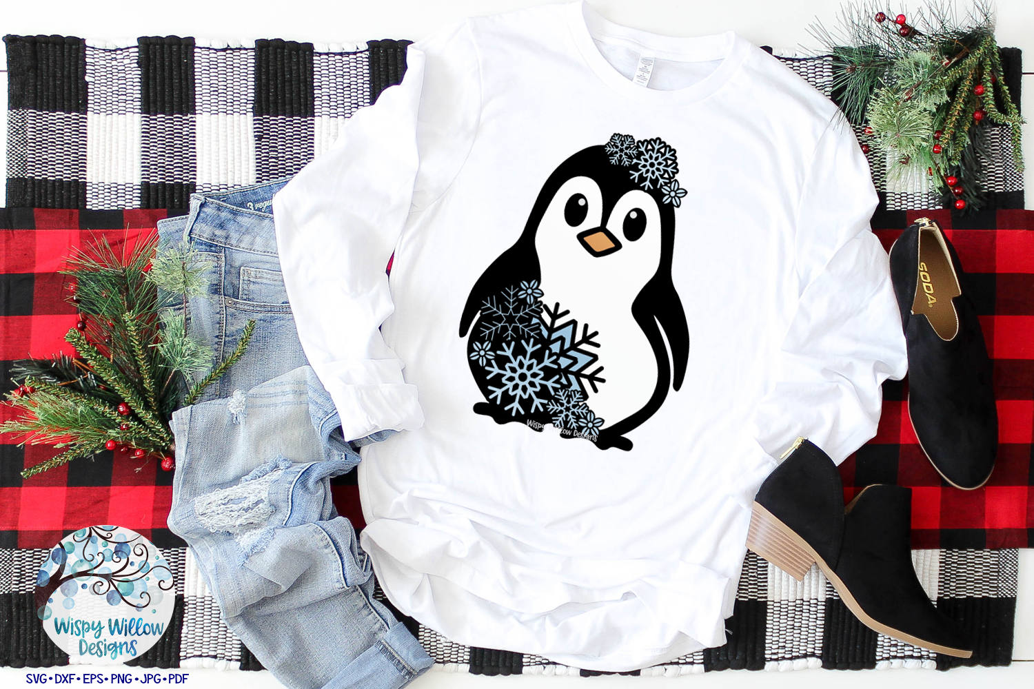 Snowflake Penguin SVG | Winter Penguin Layered SVG Cut File example image 2