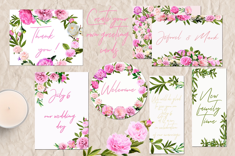Watercolor Peonies Flowers Clip Art example image 2