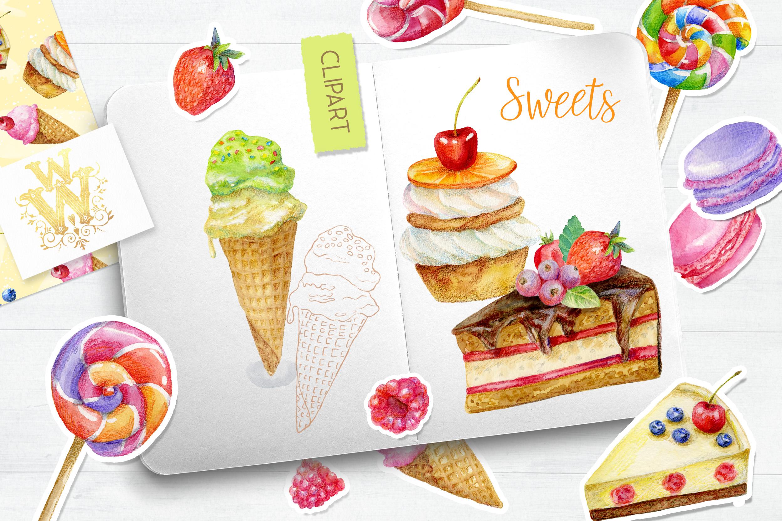 Watercolor sweets clipart, food art, candy, lollipop