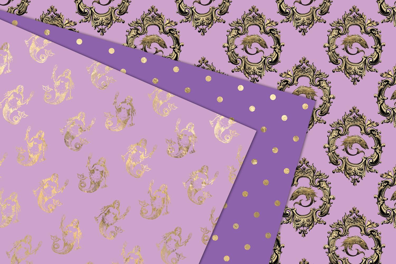 Purple and Gold Mermaid Digital Paper example image 2