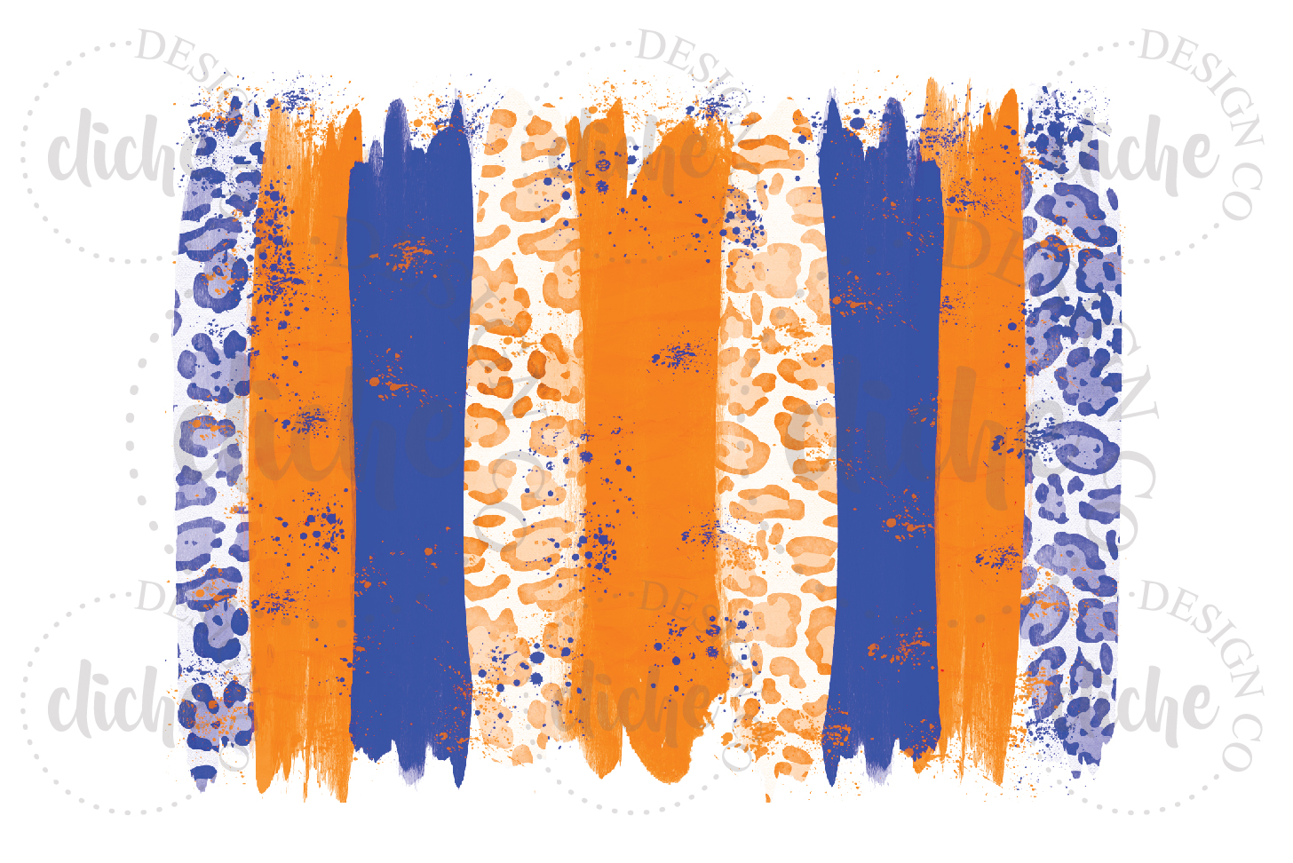 Blue Orange Paint Stroke Sublimation Design Background example image 1