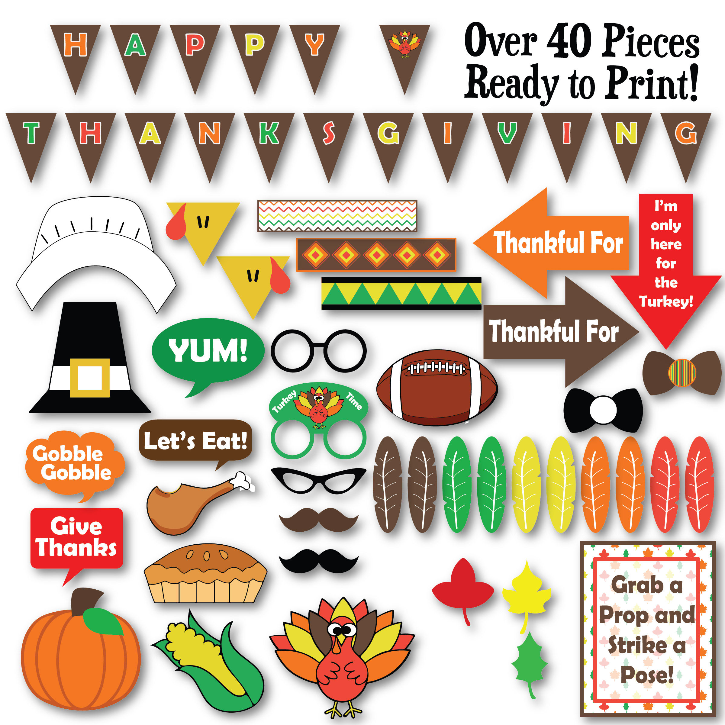 Thanksgiving Photo Booth Props SVG Cut File DXF EPS PNG SVG example image 3