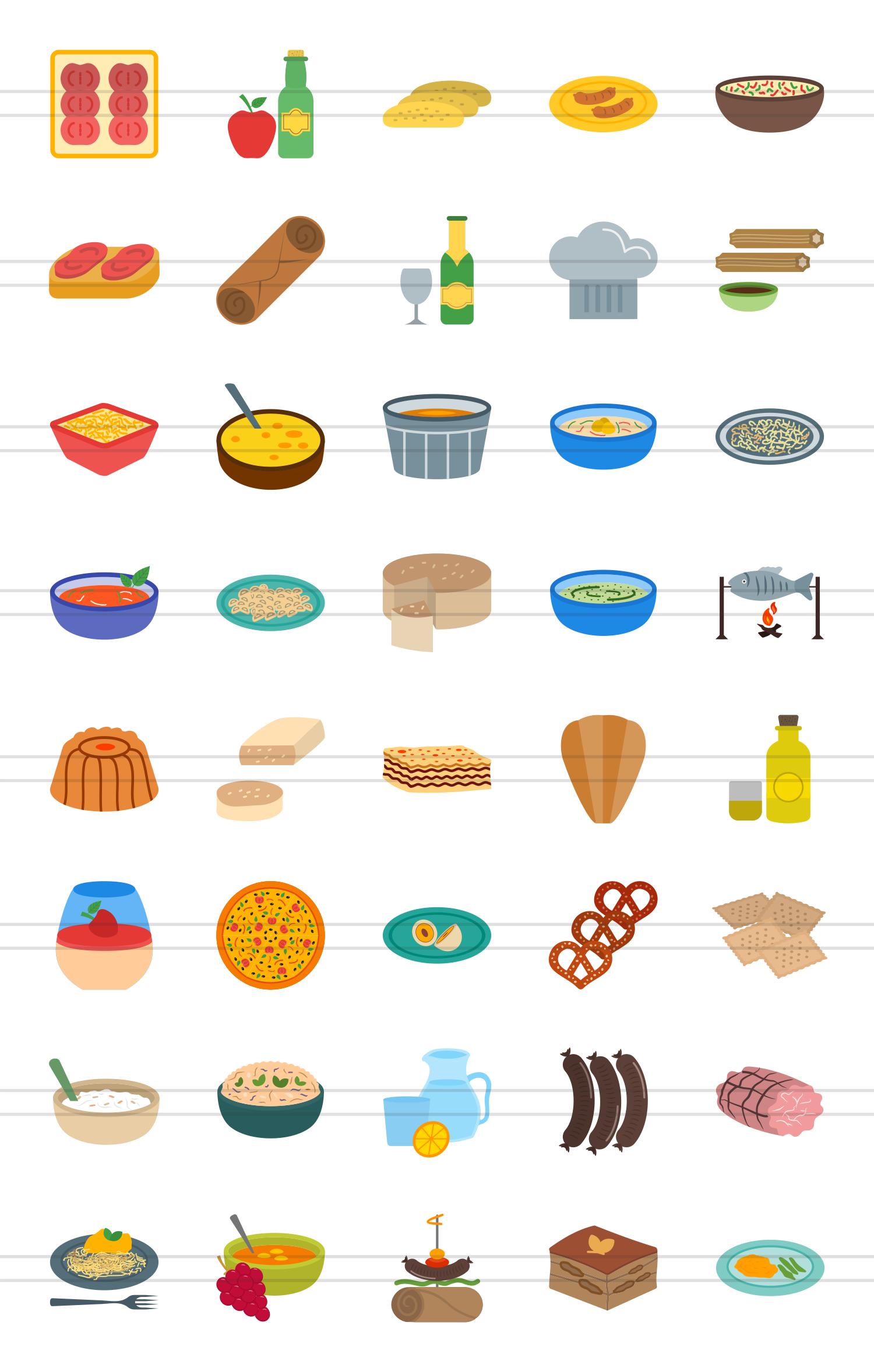 40 European Cuisine Flat Multicolor Icons example image 2