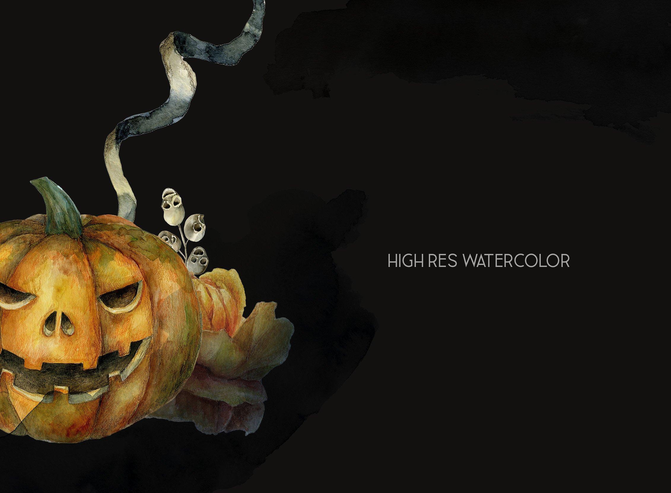 Halloween watercolor pack, Jack o Lantern pumpkin, wreath example image 9