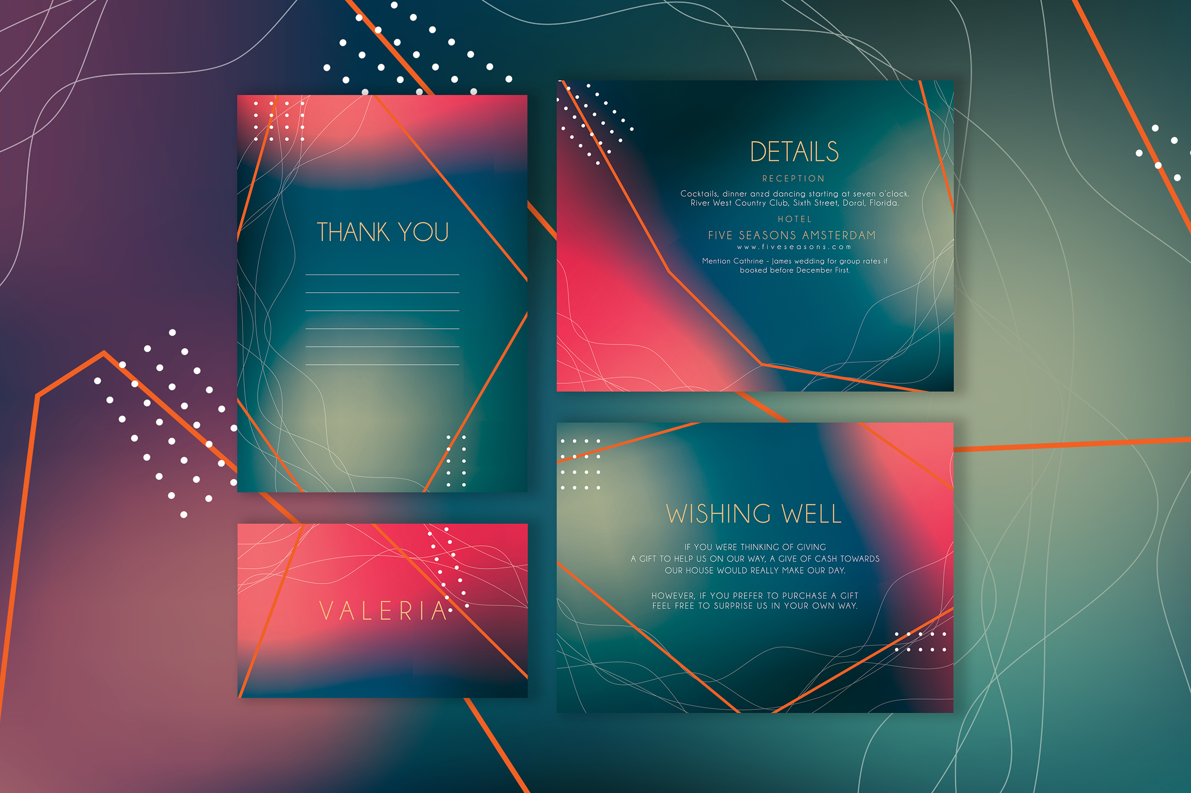 Abstract Wedding Invitation Suite example image 4
