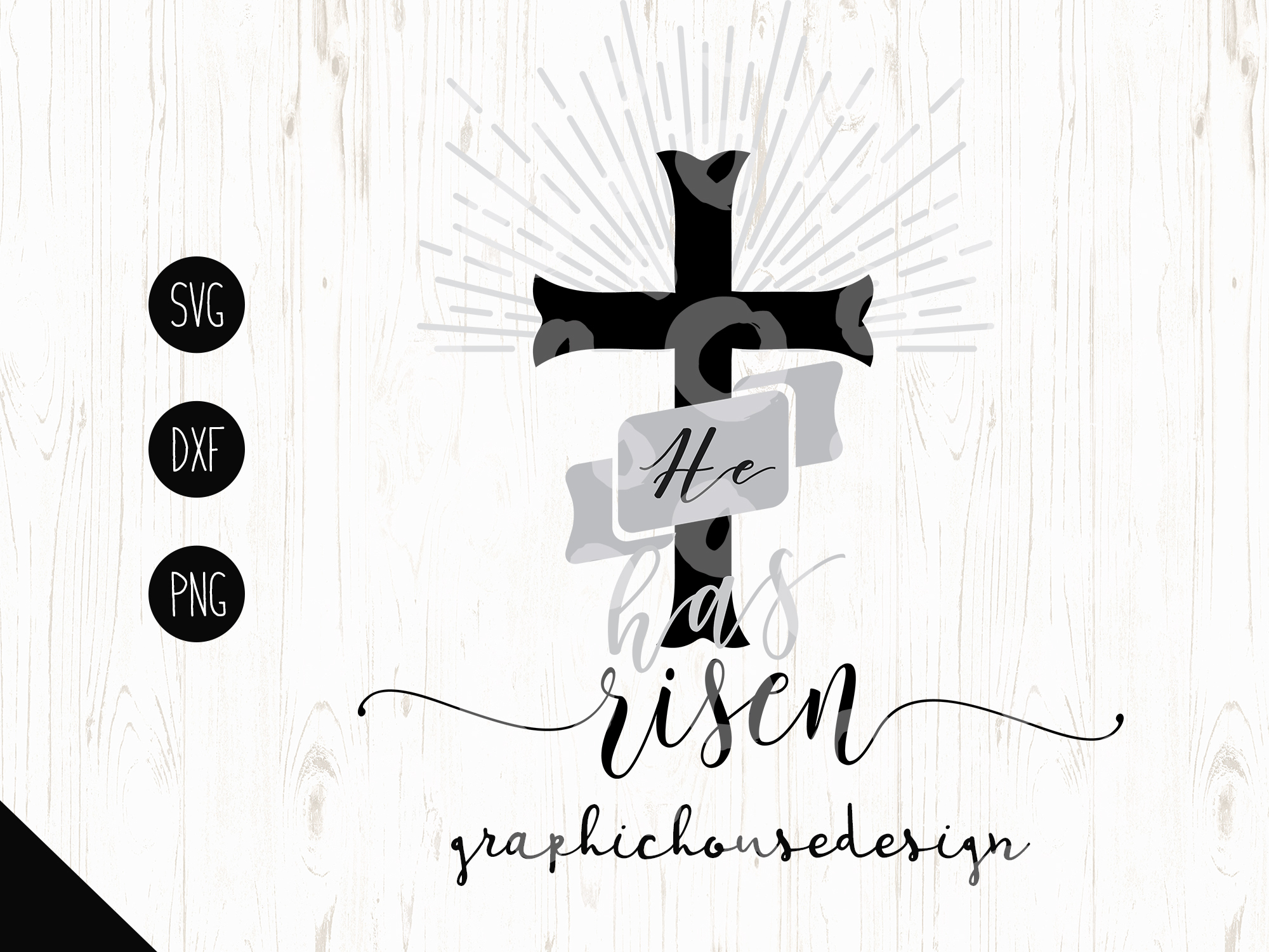 He has Risen Cutting File (SVG, DXF, PNG) example image 1