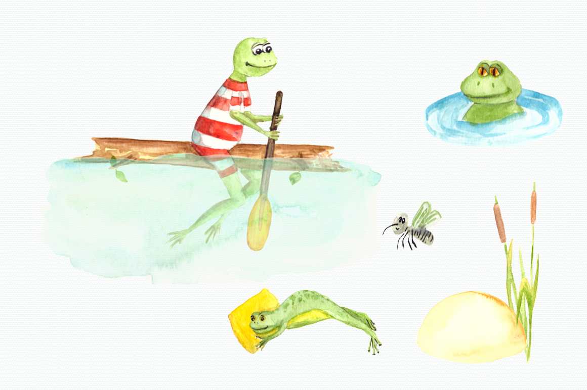 Watercolor Frogs Clip Art Set example image 3