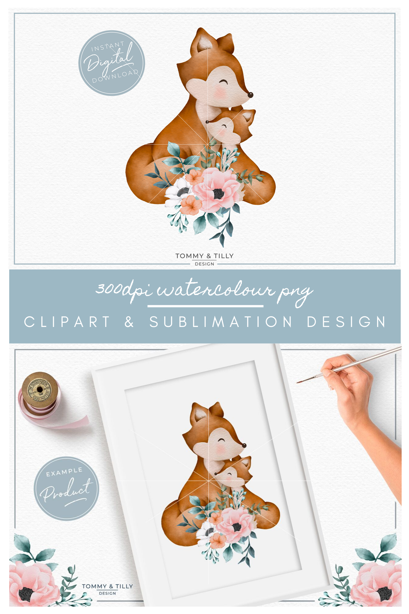 Floral Mummy and Baby Fox - Sublimation PNG Clipart example image 5