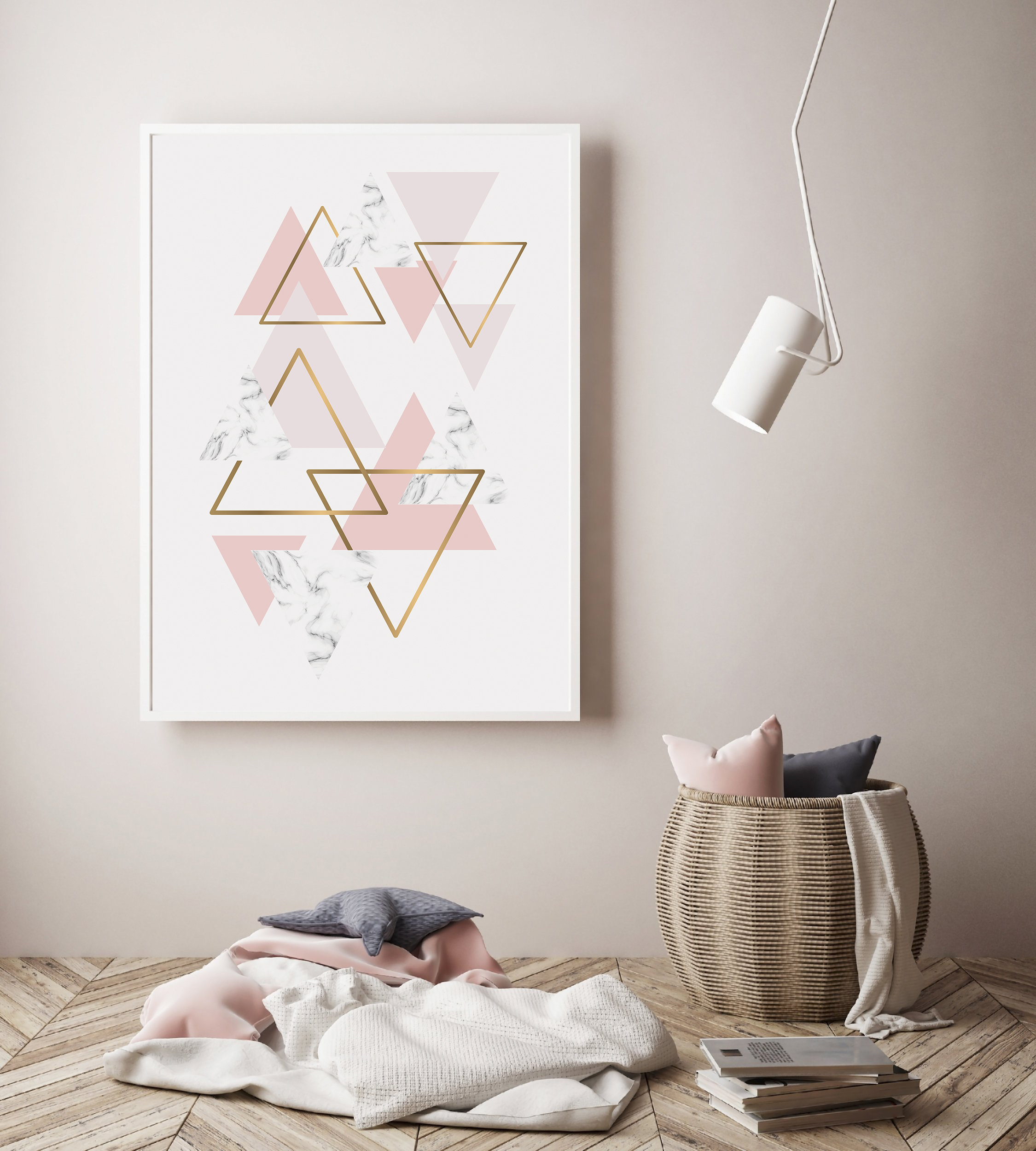 Pink and Gold Wall Print, Geometric Triangle Digital example image 3