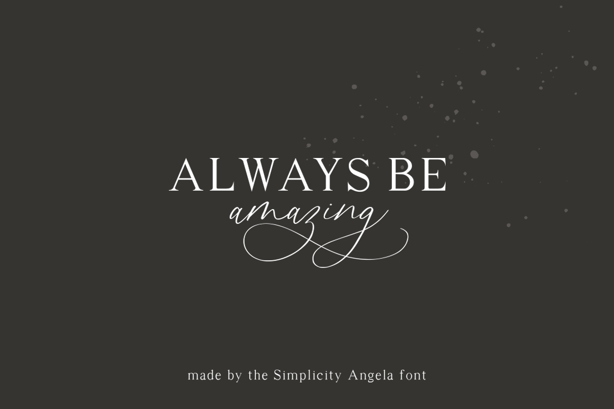 Simplicity Angela - Calligraphy Font example image 7