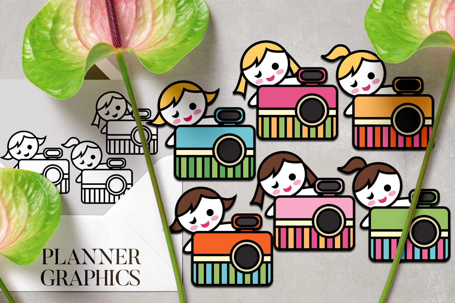Hobby illustrations bundle - planner sticker graphics example image 4