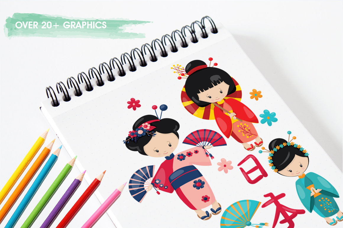 Kimono Girl graphic and illustrations example image 5