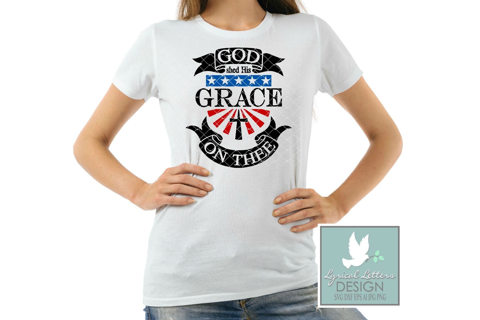 God Shed His Grace On Thee American Flag and Cross Patriotic Cutting File LL114B  SVG DXF FCM EPS AI JPG PNG example image 2