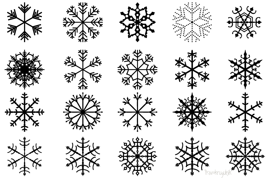 Winter snowflakes clipart set - black and white colors example image 2