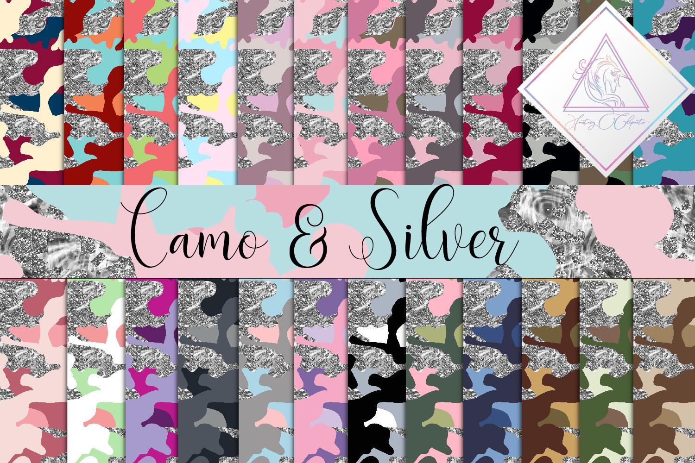 Camo & Silver Glitter Digital Paper example image 1
