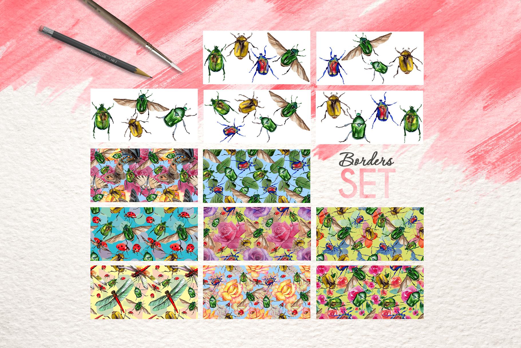 Beetle Cetoniinae,Flower Watercolor png example image 8