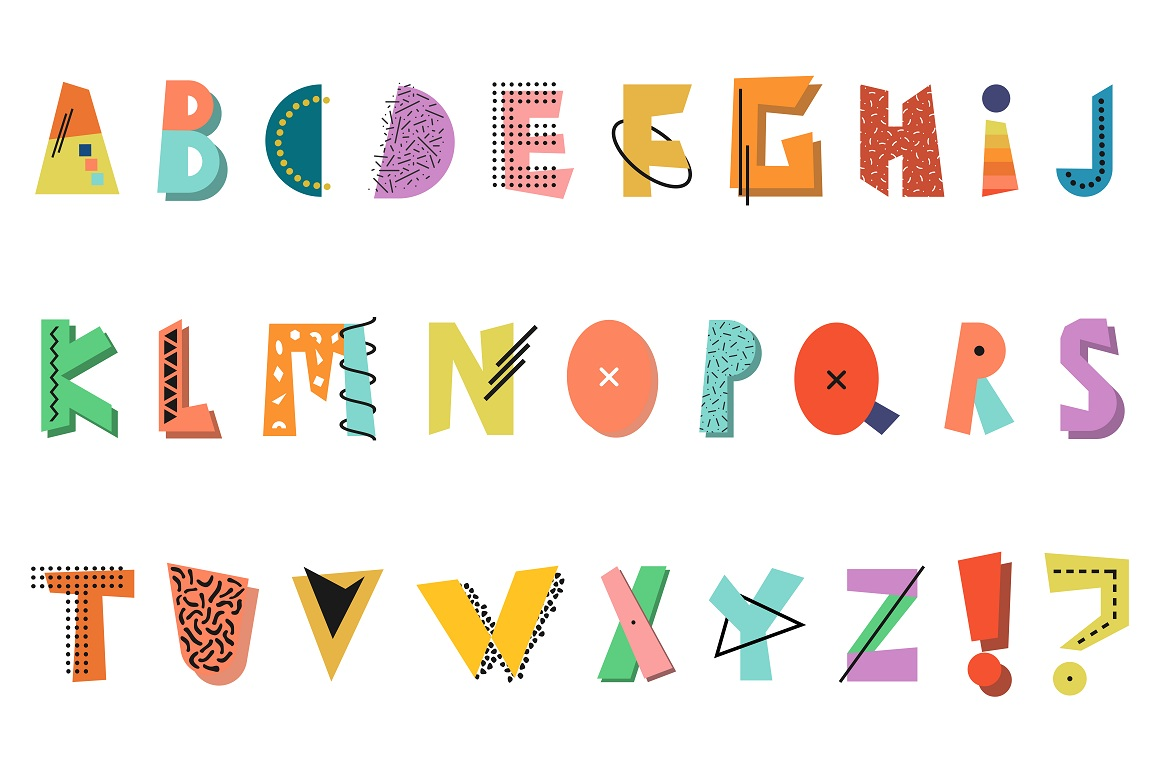 Memphis english color alphabet. example image 5