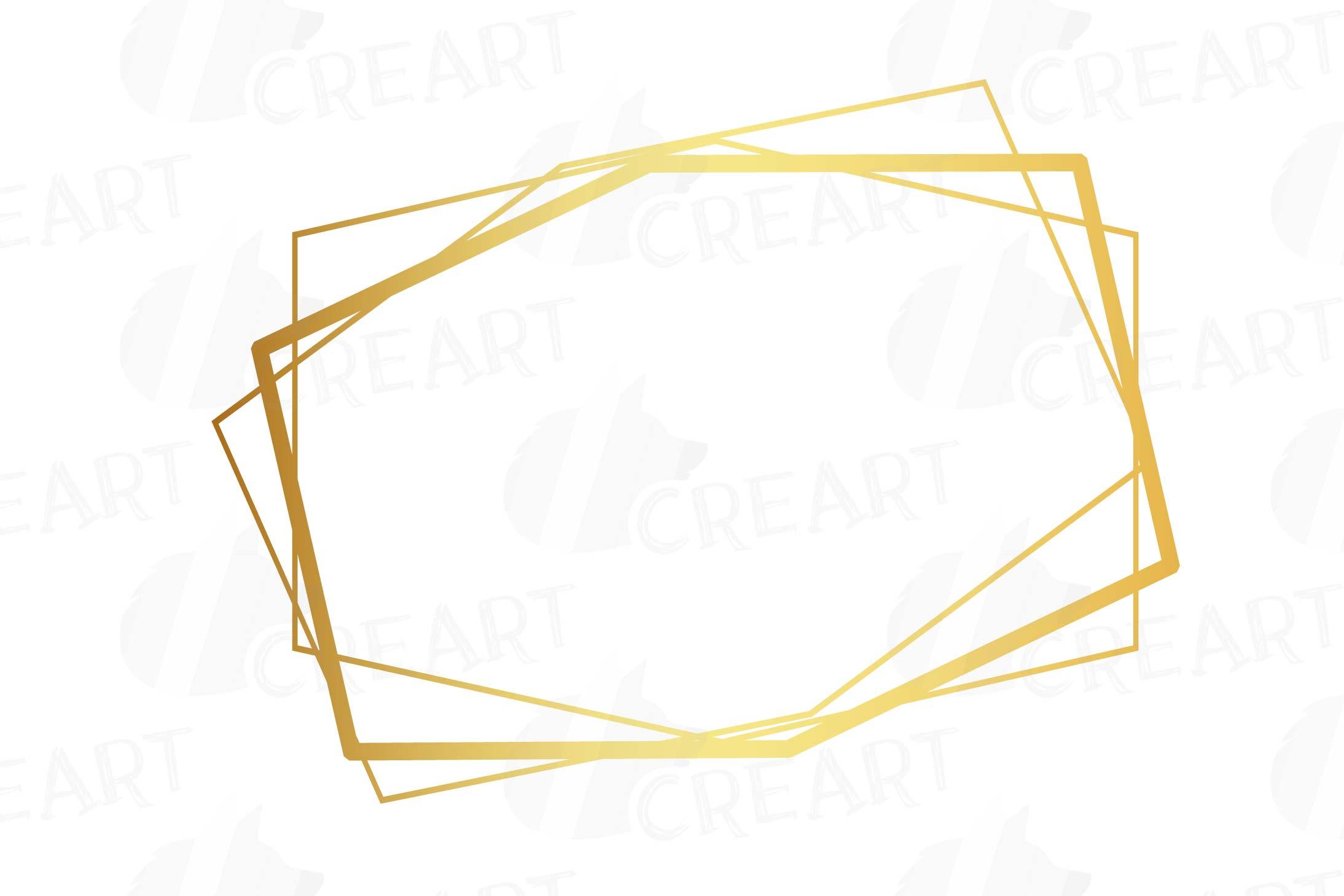 Elegant wedding geometric golden frames, lineal frames png example image 11