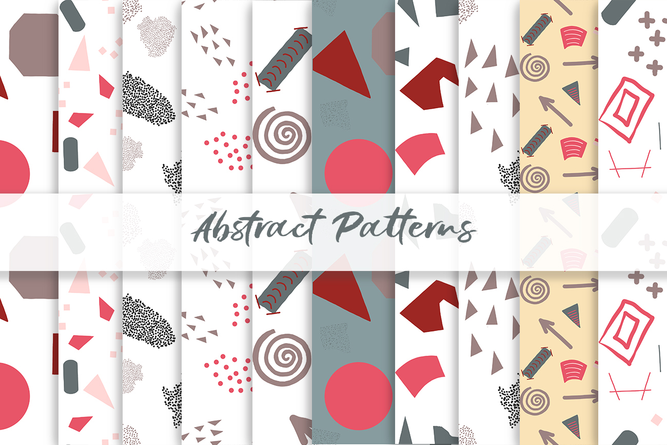 Abstract vector patterns. Big geometric collection, seamless example image 8