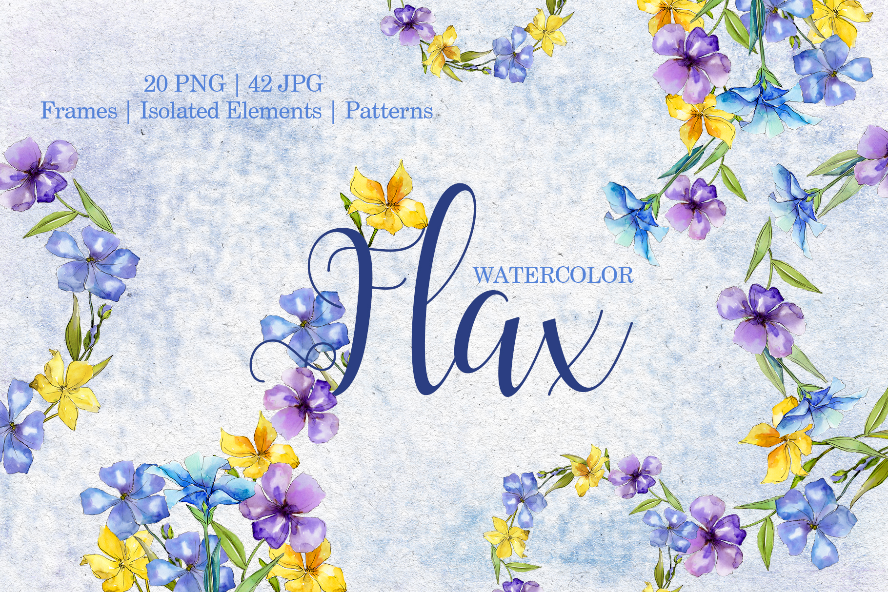Flax Blue and yellow fowers Watercolor png example image 1