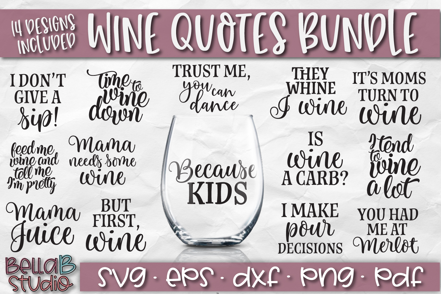 Wine Bundle SVG, Wine Quotes SVG, Wine SVG Files example image 1