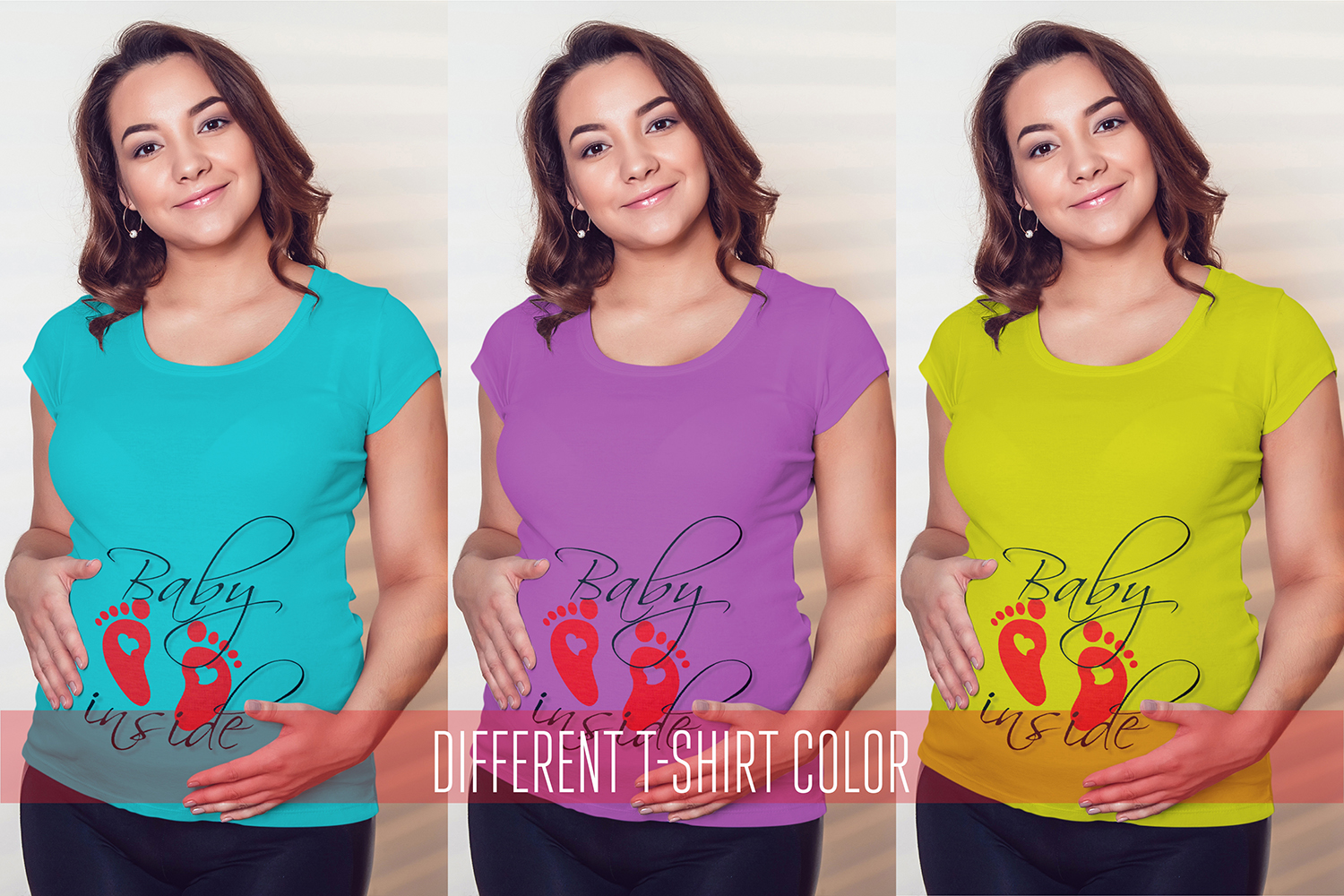 Pregnant Woman T-Shirt Mock-Up example image 2