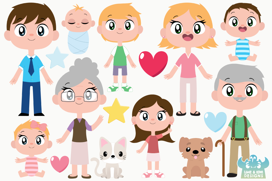 Happy Family 1 Clipart, Instant Download Vector Art example image 2